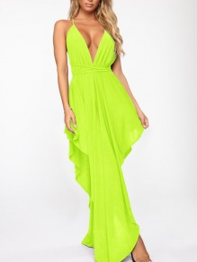 Neon Green Spaghetti Strap Pleated Irregular V-neck Prom Evening Party Maxi Dress