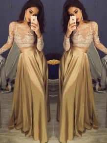 Champagne Patchwork Lace Draped High Waisted Banquet Wedding Prom Party Maxi Dress