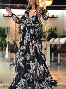 Black-White Print Fashion Comfy Going out One Piece Maxi Dress