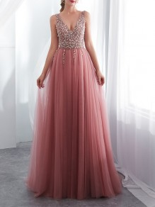 Pink Patchwork Rhinestone Grenadine V-neck Sleeveless Elegant Party Prom Evening Maxi Dress