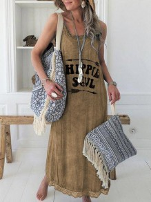 Brown Monogram Print Lace Condole Belt Sleeveless Going out Maxi Dress
