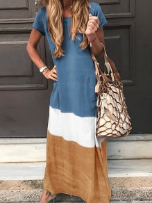 Blue Color Block Print Round Neck Short Sleeve Fashion Maxi Dress