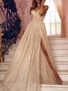 Apricot Draped Glitter Sparkly Slit Spaghetti Straps Elegant Party Prom Maxi Dress