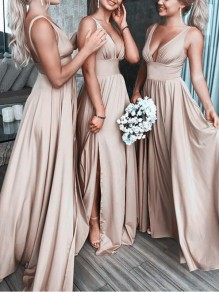 Apricot Side Slit Backless Flowy Big Swing Deep V-neck Elegant Bridesmaid Prom Party Maxi Dress