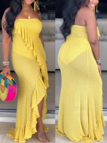 Yellow Irregular Ruffle Off Shoulder Backless Mermaid High-low Prom Banquet Party Maxi Dress