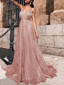 Pink Patchwork Grenadine Draped Sequin Glitter Sparkly Spaghetti Strap V-neck Fashion Wedding Prom Maxi Dress