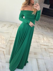 Green Draped Ruched Off Shoulder Long Sleeve Elegant Casual Party Prom Maxi Dress