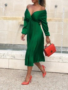 Green Off Shoulder Pleated V-neck Long Sleeve Elegant Prom Party Maxi Dress