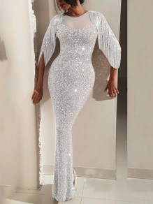 Silver Patchwork Grenadine Sequin Tassel Sparkly Wedding Mermaid Prom Banquet Party Maxi Dress