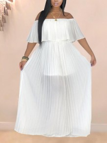 White Pleated Ruffle Off Shoulder Backless Ruched Flowy Beach Party Bohemian Maxi Dress