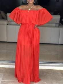 Orange Pleated Ruffle Off Shoulder Backless Ruched Flowy Beach Party Bohemian Maxi Dress