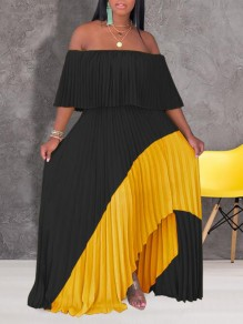 Black-Yellow Patchwork Pleated Irregular Off Shoulder Backless Ruched Flowy Bohemian Maxi Dress