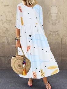 White Print Going out Comfy Sweet Fashion One Piece Maxi Dress