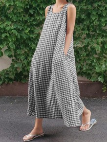 Black Gingham Pockets Square Neck Collarless Fashion Casual Maxi Dress