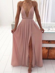 Pink Pleated Spaghetti Strap V-neck Backless Thigh High Side Slits Bohemian Beachwear Maxi Dress