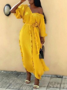 Yellow Ruffle Sashes One-Shoulder 3/4 Sleeve Flowy Banquet Party Maxi Dress