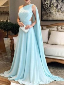 Sky Blue Draped Bandeau Oblique Shoulder Backless Elegant Bridesmaid Prom Red Carpet Maxi Dress