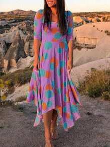 Purple Polka Dot Irregular Pleated Bohemian Beach Maxi Dress