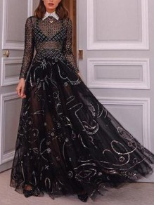 Black Patchwork Grenadine Bright Wire Fishnet Flowy Long Sleeve Fashion Prom Banquet Party Maxi Dress