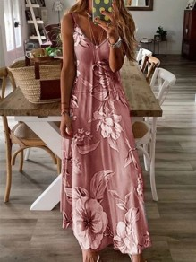 Pink Floral Spaghetti Strap Pleated Bohemian Beach Maxi Dress