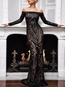 Black Patchwork Lace Off Shoulder Bodycon Mermaid Prom Evening Party Maxi Dress