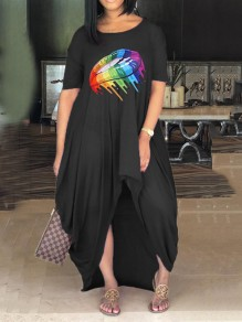 Black Rainbow Striped Lips Rasta Pride Jamaica Pleated High-Low Bohemian Beach Maxi Dress