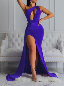 Purple Asymmetric Shoulder Cut Out Thigh High Side Slits Bodycon Prom Evening Party Maxi Dress