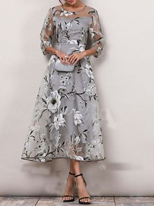 Grey Floral Embroidery Grenadine 3/4 Sleeve Elegant Mexican Prom Maxi Dress