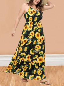 Black Sunflower Print Draped Spaghetti Strap High Waisted Flowy Bohemian Maxi Dress