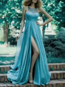 Blue Patchwork Lace Cut Out Slit Tulle Elegant Wedding Gowns Prom Maxi Dress
