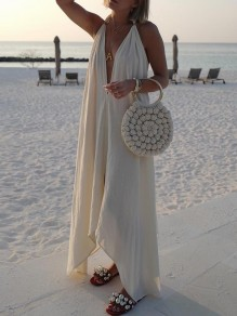 White Halter Neck Pleated High-Low Backless V-neck Bohemian Beach Maxi Dress