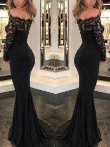 Black Patchwork Lace Cut Out Swallowtail Homecoming Mermaid Off Shoulder Party Maxi Dress