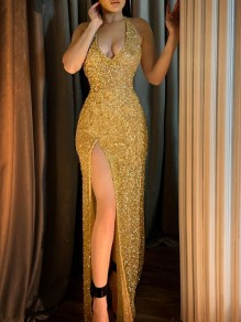 Golden Patchwork Sequin Halter Neck Bodycon Thigh High Side Slits V-neck Sparkly Prom Evening Party Maxi Dress