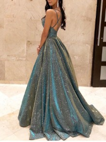 Blue Sequin Cross Back Spaghetti Strap Banquet Elegant Party Maxi Dress