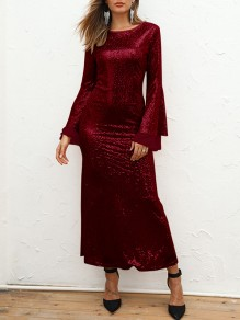 Burgundy Patchwork Sequin Grenadine Bodycon Mermaid Sparkly Glitter Birthday Prom Evening Party Maxi Dress