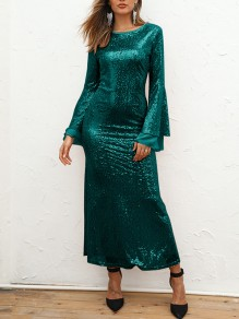 Green Patchwork Sequin Grenadine Bodycon Mermaid Sparkly Glitter Birthday Prom Evening Party Maxi Dress