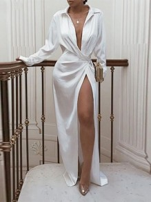 White Patchwork Belt Long Sleeve Turndown Collar Deep V-neck Long Sleeve High Slit Fashion Beach Maxi Dress