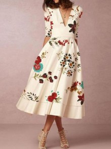White Floral Pockets Deep V-neck Half Sleeve Banquet Elegant Party Maxi Dress