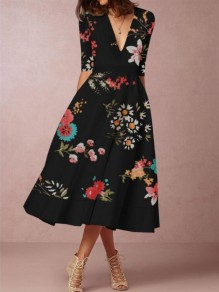 Black Floral Pockets Deep V-neck Half Sleeve Banquet Elegant Party Maxi Dress
