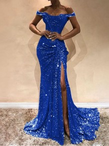 Blue Off Shoulder Sequin Bodycon Mermaid Thigh High Side Slits Prom Evening Party Maxi Dress