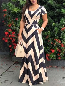 Beige Striped Pleated Pockets Bohemian Party Maxi Dress
