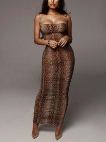 Brown Snakeskin Pattern Spaghetti Strap Bodycon Party Maxi Dress