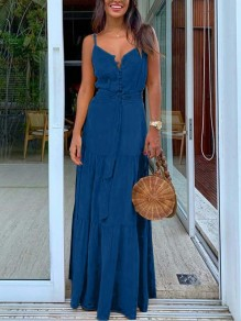 Blue Buttons Pleated Belt Spaghetti Strap Bohemian Beach Maxi Dress