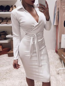 White Belt Bodycon V-neck PU Leather Latex Patent Rubbe Party Maxi Dress