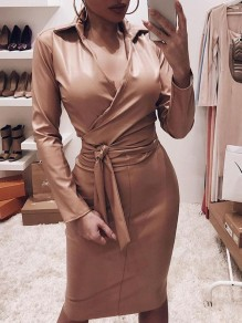 Khaki Belt Bodycon V-neck PU Leather Latex Patent Rubbe Party Maxi Dress