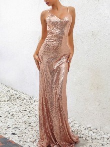Champagne Patchwork Sequin Spaghetti Strap Pleated V-neck Sparkly Glitter Birthday Party Maxi Dress