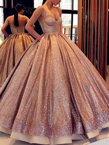 Rose Gold Sequin Pockets Spaghetti Strap Skater Tutu Wedding Banquet Party Maxi Dress