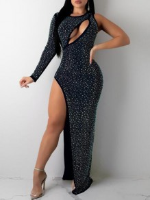 Black Irregular Rhinestone Cut Out Side Slit Banquet Party Sparkly Maxi Dress