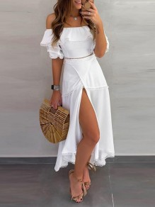 White Off Shoulder Ruffle Front Slit Bohemian Boho Beach Wedding Maxi Dress