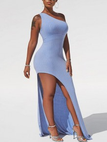 Light Blue Asymmetric Shoulder Thigh High Side Slits Bodycon Party Prom Maxi Dress